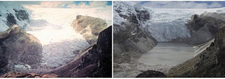 Ледник Кори Калис, Перу. Июль 1978 г. — июль 2011 г.