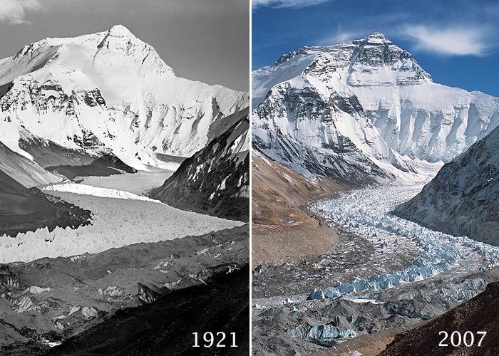 Ледник Главный Ронгбук (Main Rongbuk Glacier) у Эвереста. В 1921 и 2008 годах