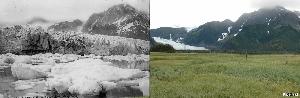 Ледник Петерсен, Аляска  Фотография слева была сделана в августе 1917 года, в снимок справа – в августе 2005-го. За 88 лет от ледника практически ничего не осталось