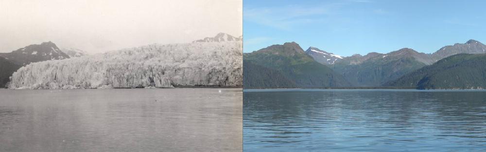 Ледник Маккарти, Аляска  Похожая история и у другого ледяного исполина с Аляски – ледника Маккарти. Снимок слева датирован июлем 1909 года. А вторая фотография сделана в августе 2004. Площадь «отступления» ледника заняла более 15 километров. За состоянием ледников на Аляске ученые следят с 50-х годов прошлого века. В среднем, по данным исследователей, лед тает со скоростью порядка 1,8 метра в год. Однако за последнее десятилетие этот показатель стал увеличиваться. По мнению ученых из Аргентинского университета, таяние ледников в таких объемах происходит впервые за последние 12 тысяч лет.