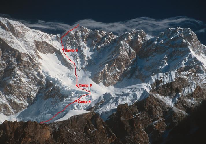 Канченджанга. Стандартный маршрут восхождения. Подробности маршрута на трех последних перед вершиной лагерей.