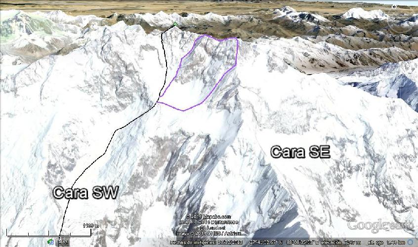 Канченджанга. Черным цветом обозначен стандартный маршрут. Фиолетовым  - путь японской команды в 1984 году