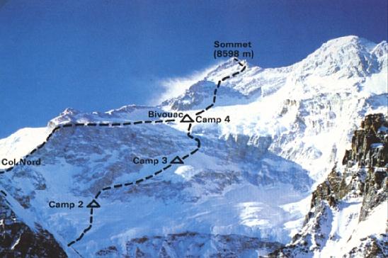 Канченджанга. Слева - британский маршрут 1979 года. Справа - японский вариант 1980 года