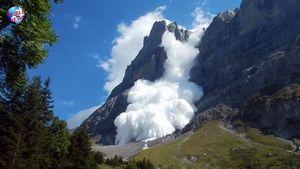Обвал ледника на горе Веттерхорн в Швейцарии