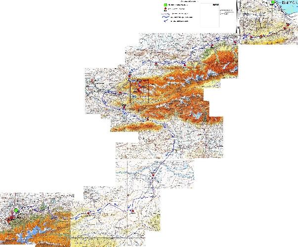 Генштабовская карта с отмеченым маршрутом и местами ночевок
