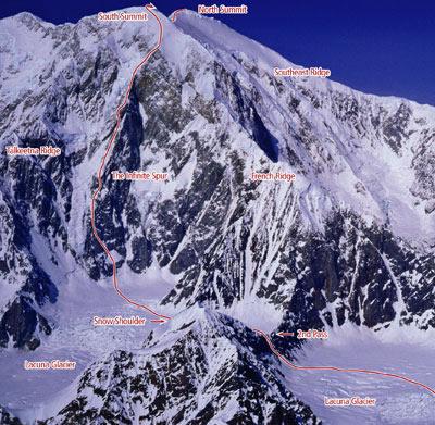 """маршрут """"Infinite Spur"""" на вершину горы Форакер (Mount Foraker, 5303 м)"""