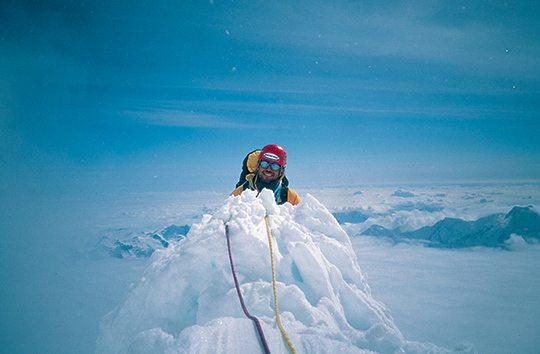 "Барри Бланчард (Barry Blanchard) на вершине маршрута ""Infinite Spur"""