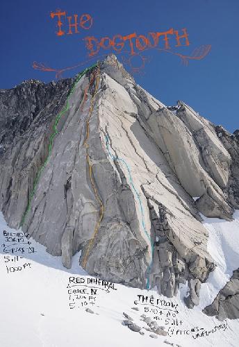 Команда сделала три попытки восхождения на пик Догтут Спайр (Dogtooth Spire) и открыла два новых маршрута: Red Dihedral (5.10+, 365м) и Birthday Jorts (5.11a, 300м).