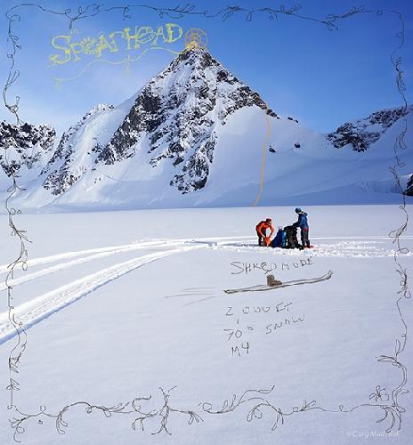 Команда поднялась на пик Спирхед (Spearhead) по снежным склонам по северо - западной стене. Они назвали свой маршрут Shred Mode (70 градусов M4 610 м