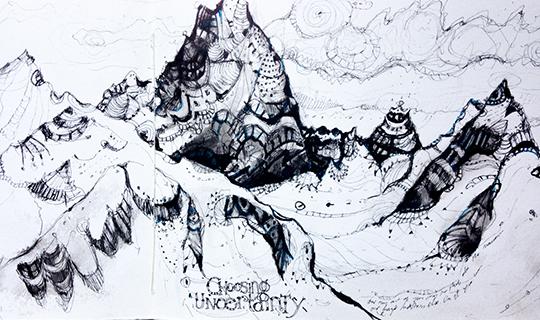 Слева направо: Стена Берсеркер пика 8990 и пик Спирхед (Berserker Face of Peak 8909 and Spearhead (7,140). художественный набросок Крейга Мадерлака
