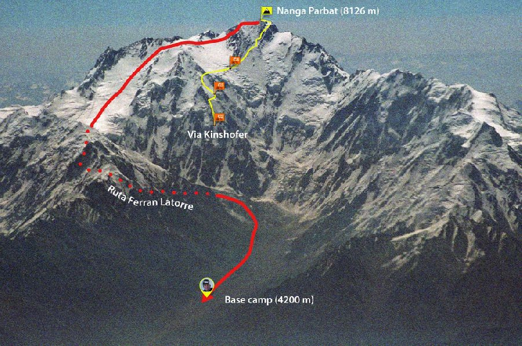 Планируемый командой новый маршрут на Нангапарбат: