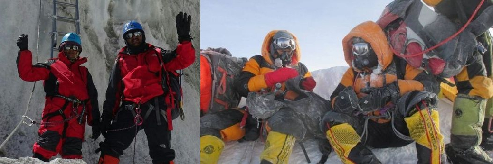 Разная экипировка в начале восхождения и на вершие Эвереста