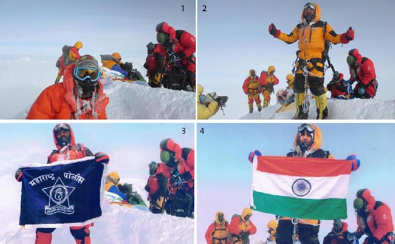 №1 и №2 это фото альпинистов поднявшихся на вершину Эвереста 23 мая 2016 года.<br>№3 и №4  - фотомонтаж семейной пары из Индии Динеш (Dinesh Rathod) и Таракешвари Ратход (Tarakeshwari Rathod)