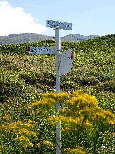 Бесполезный указатель на тропе около коровника (N43 05.152 E42 39.025)