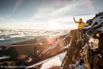 Новый мировой рекорд в хайлайне: проход по стропе на высоте 5700 метров над уровнем моря