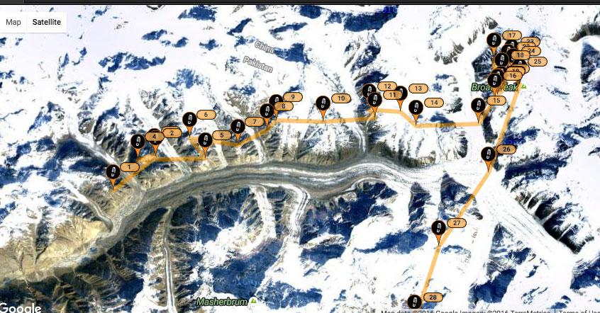 Полет над ледником Балторо