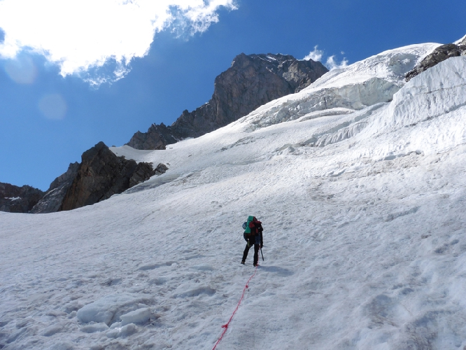 На леднике Freboudze под восточной стеной Grandes Jorasses