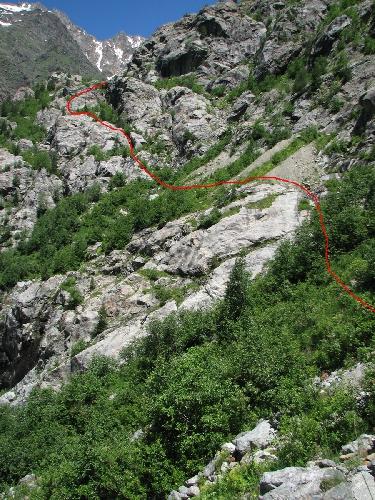 Приблизительный путь обхода по бараньим лбам второго каньона Цаннера