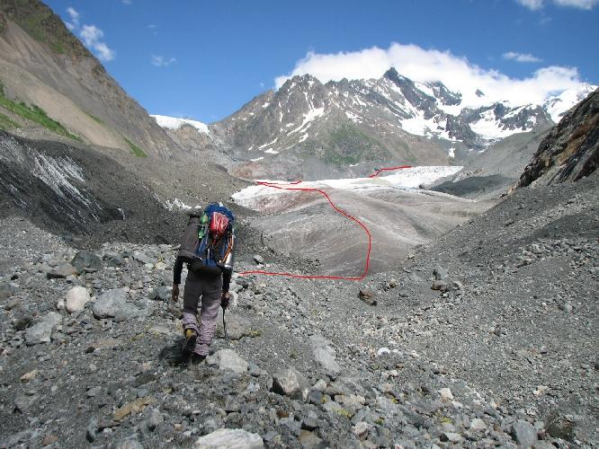 Выход на ледник Цаннер