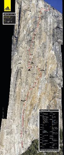 """Карта маршрута """"Dawn Wall"""" на Эль-Капитане"""""""