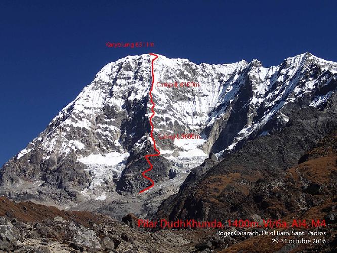 """маршрут """"Pilar Dudh Khunda"""" длинной 1400 метров и сложностями до VI / 6а, AI4, M4"""