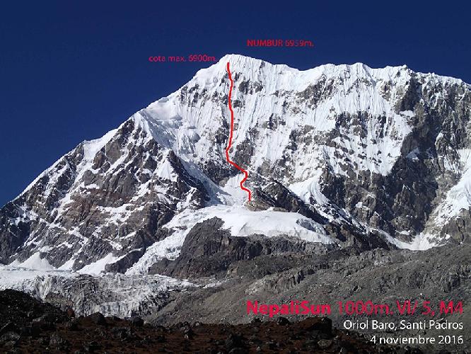 маршрут Nepali Sun идущий по южной стене Нумбур (Numbur, 6959 м.) и заканчивающийся за 59 метров до вершины.