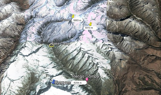 Google Earth изображение гребня