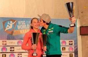 Словенские спортсмены Яна Гарнбрет и Домен Скофич выиграли Кубок Мира 2016 года по скалолазанию