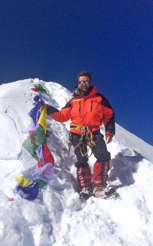 Фото киевского альпиниста Андрея Вергелеса с вершины Манаслу. Осень 2016 года