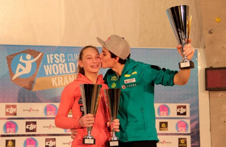 Яна Гарнбрет (Janja Garnbret) и Домен Скофич (Domen Škofic) - победители Кубка Мира по скалолазанию 2016 года