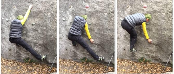 Фото 12. «Третья нога» - для того, чтобы без толчка переставить правую ногу, делается упор правою рукою в скалу. Эта рука заменяет на время переставляемую ногу.