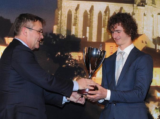 Адам Ондра (Adam Ondra) на вручении награды как лучший спортсмен Брно