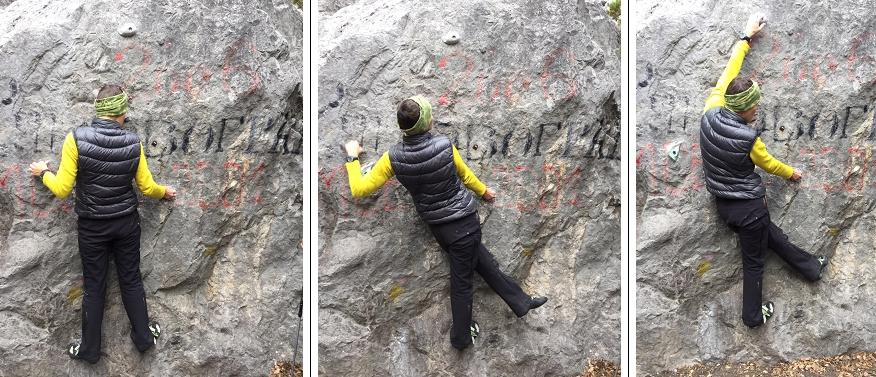 Фото 8. Поддержка равновесия закрытая (скрестная) упором левой ногою в скалу. Упор в данном случае наружной частью стопы, но может быть и носком, иногда- пяткой.