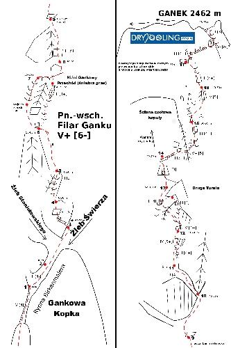 Схема маршрута Дамиана Грановского, в квадратных скобках зимние татранские категории