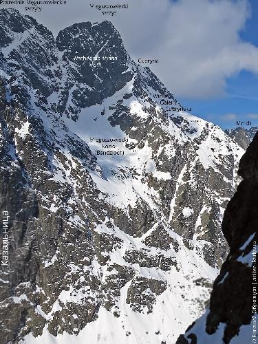 Вид на северо-восточное ребро Менгушовецкого пика в профиль (с востока), Большой Камин правее и ниже