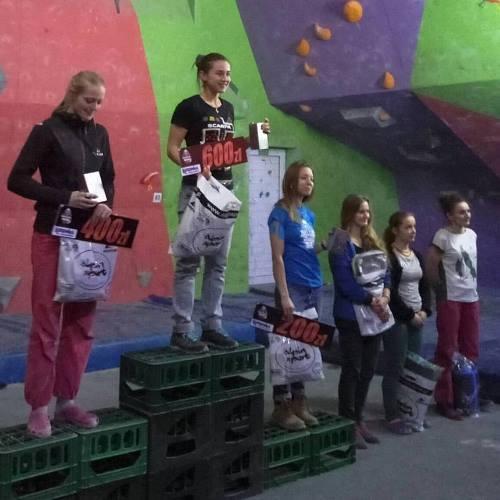 """Женский подиум на соревнования соревнованиях по боулдерингу """"Boulder Wars V""""."""