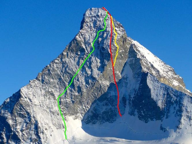 Северная стена Маттерхорна. Зеленым цветом обозначен маршрут Шмида (Schmid route), желтым цветом - маршрут Гогна-Герутти (Gogna-Cerruti Route) и красным цветом - маршрут Schweizernase