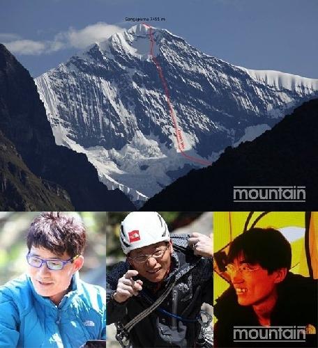 Ким Чанг Хо (Kim Chang Ho) - руководитель, Чой Сеок Мун (Choi Seok Moon), Пак Дженг Йонг (Pak Jeong Yong). Новый корейский маршрут на южной стене горы Гангапурна (Gangapurna, 7455 метров)