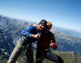 Ули Штек и Штефан Сигрист на вершине маршрута Paciencia