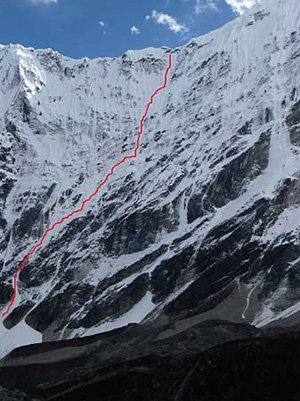 первопрохождение в альпийском стиле северной стены Tengkampoche (6487 м)