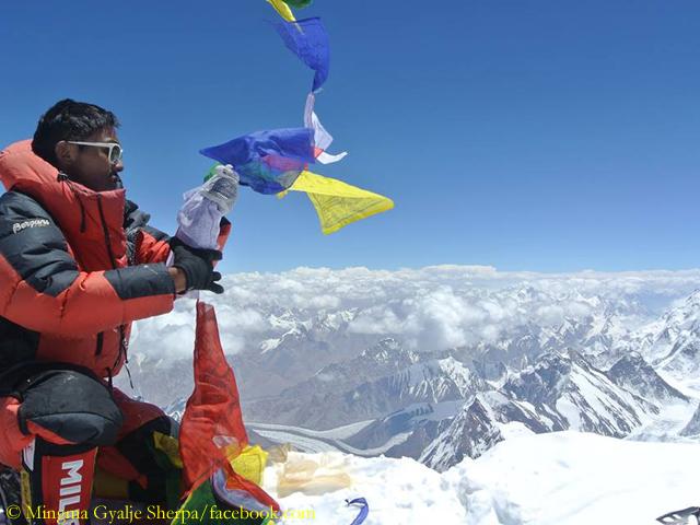 Мингма Галйе Шерпа (Mingma Gyalje Sherpa) на вершине восьмитысячника К2. 2014 год