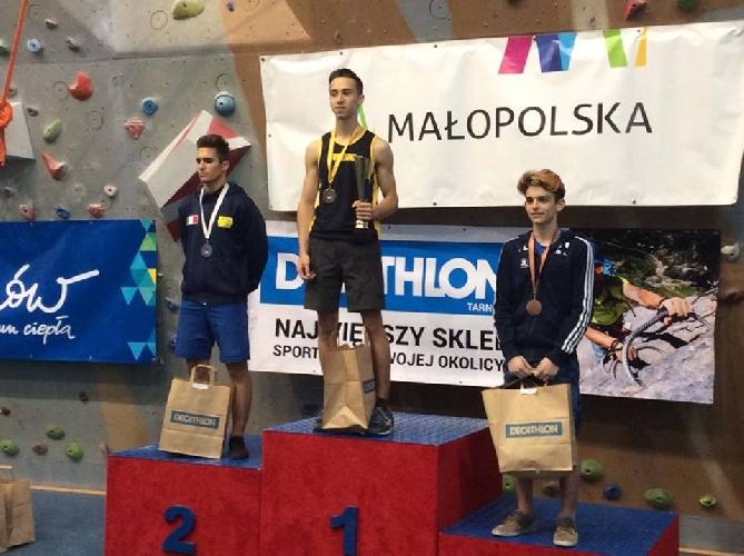Ярослав Ткач - победитель молодежного этапа Кубка Европы по скалолазанию в Тарнове