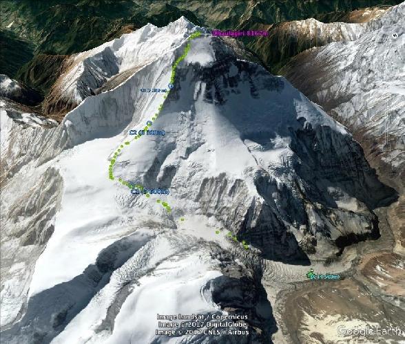 Маршрут восхождения на Дхаулагири