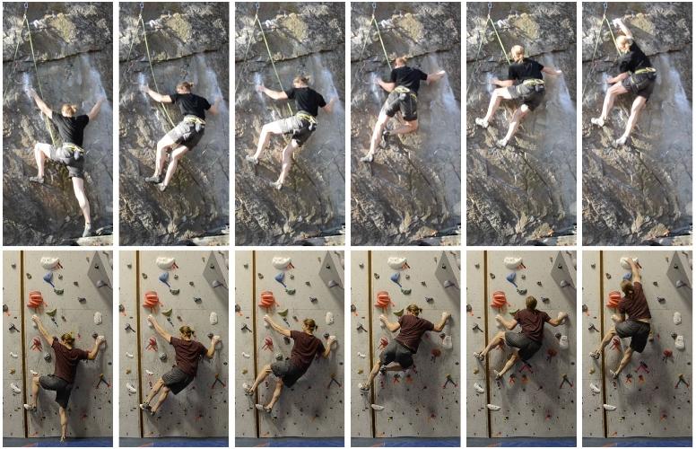 Скалолаз при прохождении маршрута совершает одинаковые движения.
