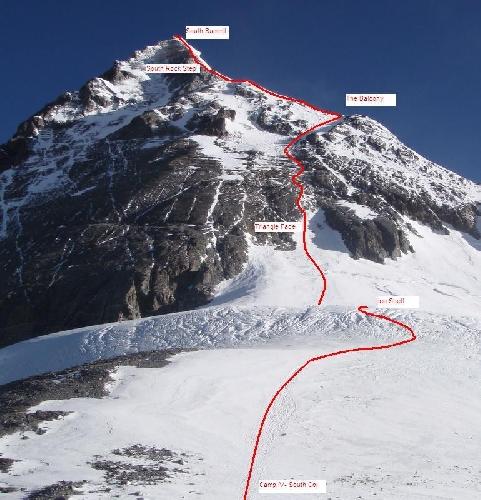 """Отметка """"Балконы"""" на высоте 8400 метров у вершины Эвереста"""