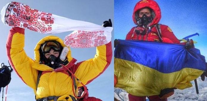 Ирина Галай (г. Мукачево) и Татьяна Яловчак (г. Селидово) на вершине Эвереста в 2016 году