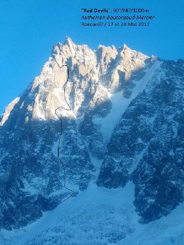 """маршрут """"Red Devils"""" на вершину пика Эгюий-дю-Миди (Aiguille du midi , 3842 м)"""