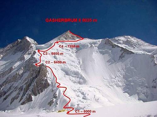 Гашербрум II (Gasherbrum II, 8034 м). Стандартный маршрут восхождения
