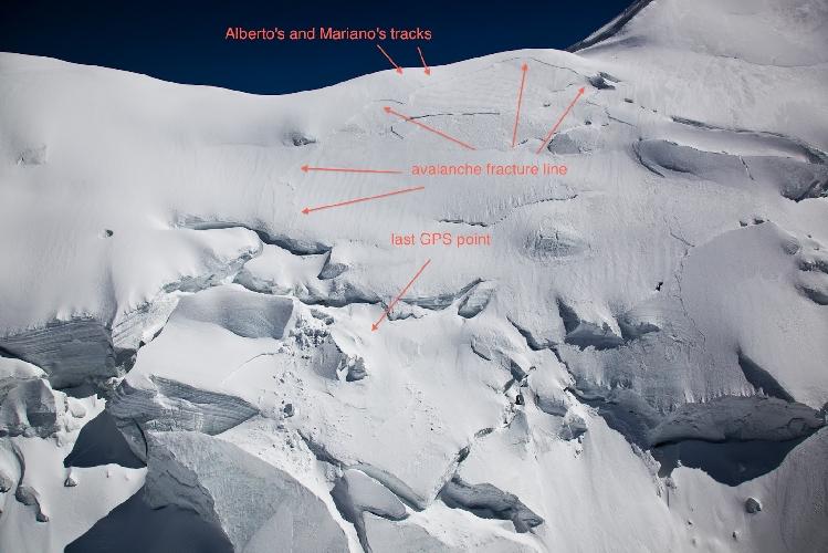 Фото из отчета поисково-спасательной команды. место гибели Мариано и Альберто