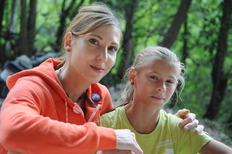 Ника в Арко (Италия) на скалах со знаменитой словенской спортсменкой Миной Маркович после прохождения своей второй трассы 8b (03.09.2015